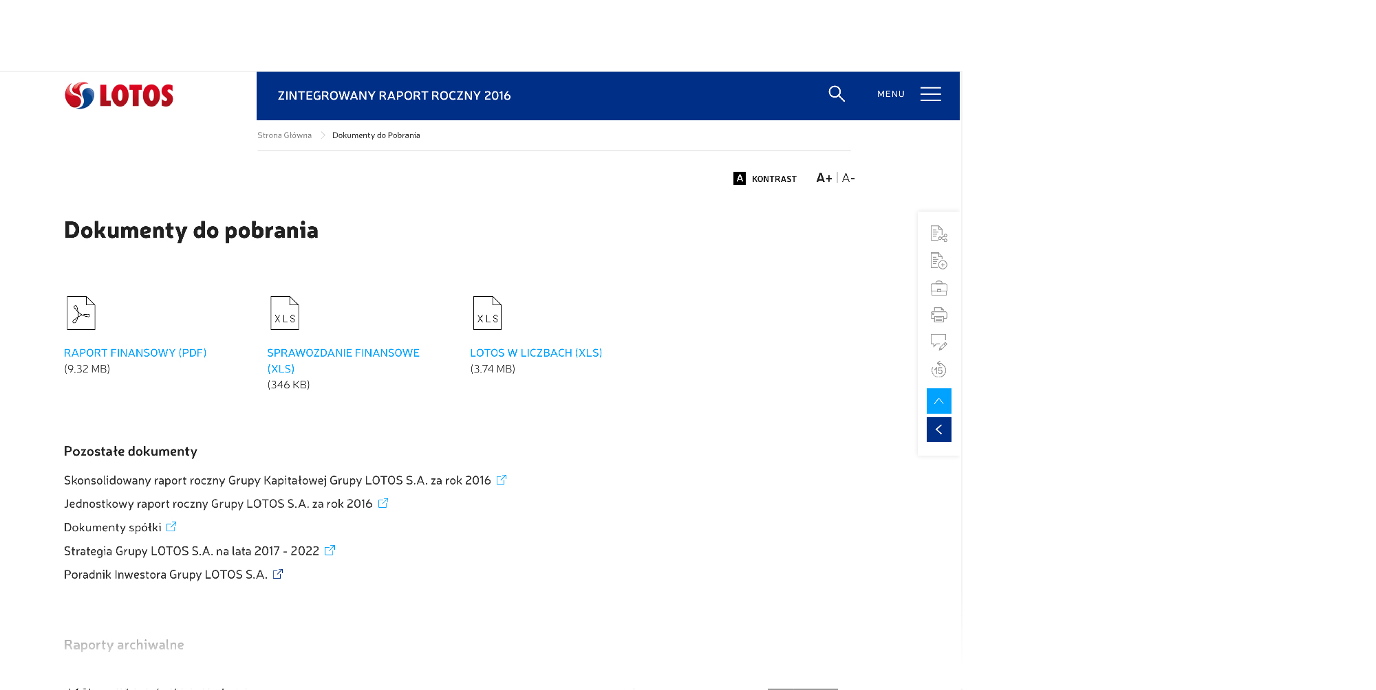 widok strony z dokumentami do pobrania