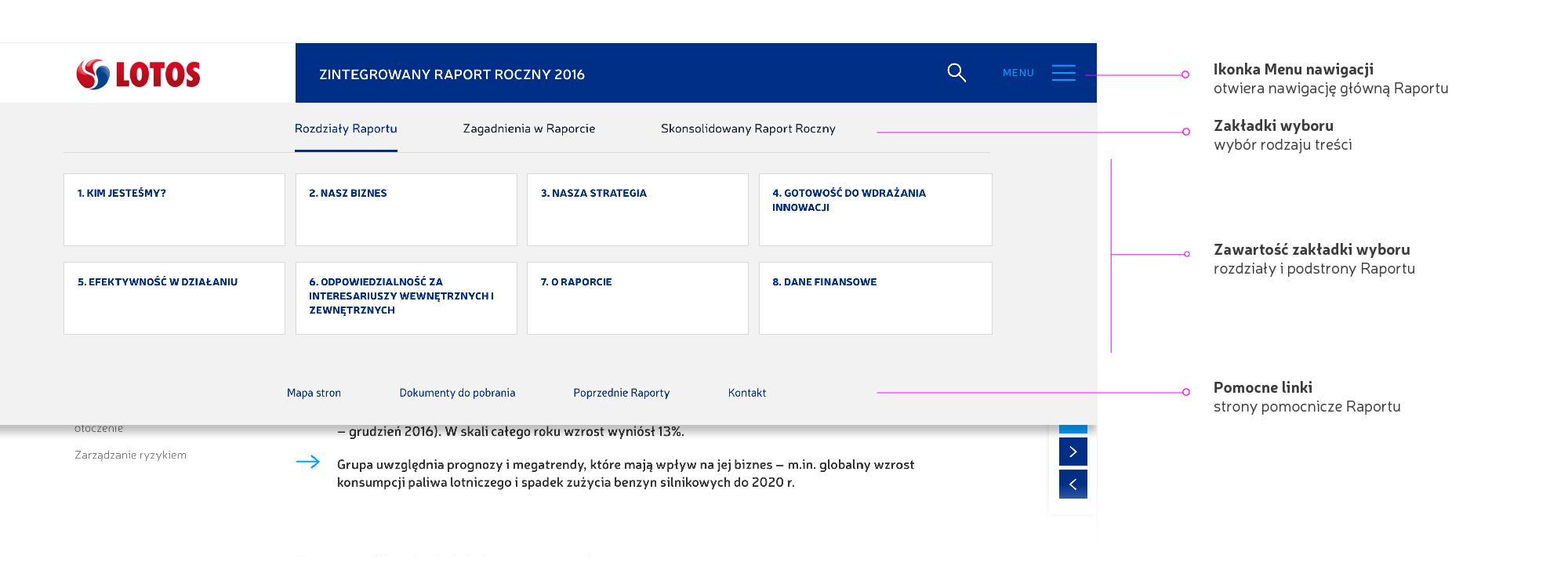 zrzut ekranu - nawigacja główna, otwarte menu